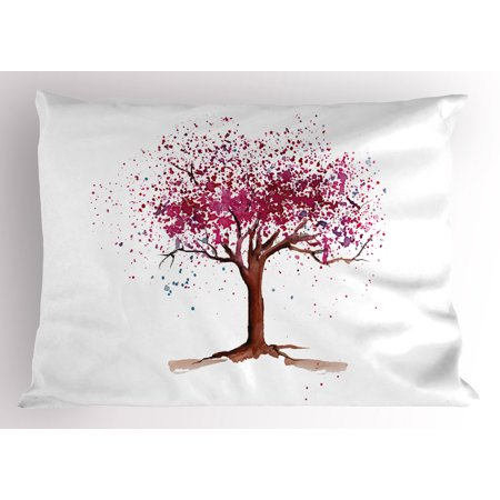 Floral Pillow Sham Japanese Cherry Blossom Buds Sakura Tree in Watercolor Beauty Essence Artwork, Decorative Standard Size Printed Pillowcase, 26 X 20 Inches, Magenta Redwood, by Ambesonne