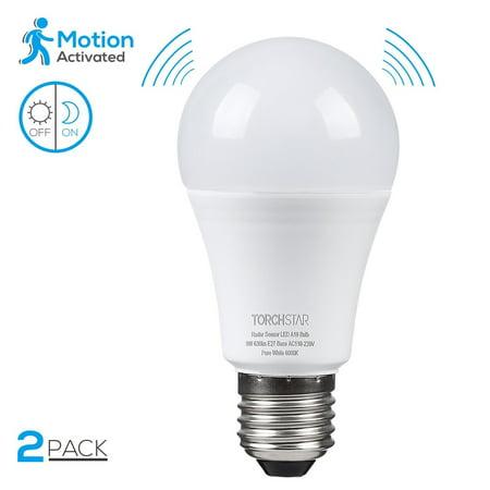 Torchstar 2 Pack 9w A19 Motion Sensor Light Bulbs Radar