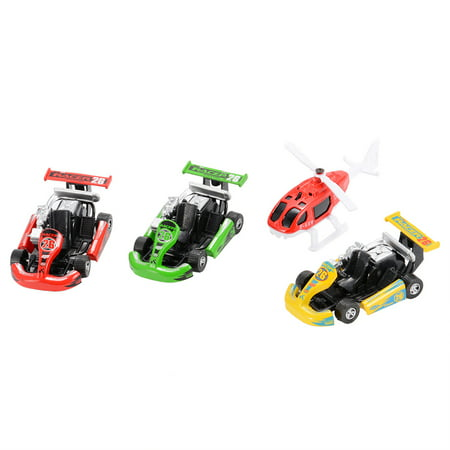 - 4PCS Diecast Metal Car Models Racers and Helicopter Play Set Pull Back Cars Vehicle Playset