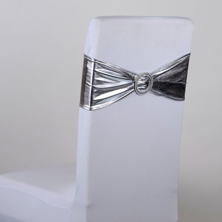 Spandex Chair Sash with Buckle - Silver 5 pieces ()