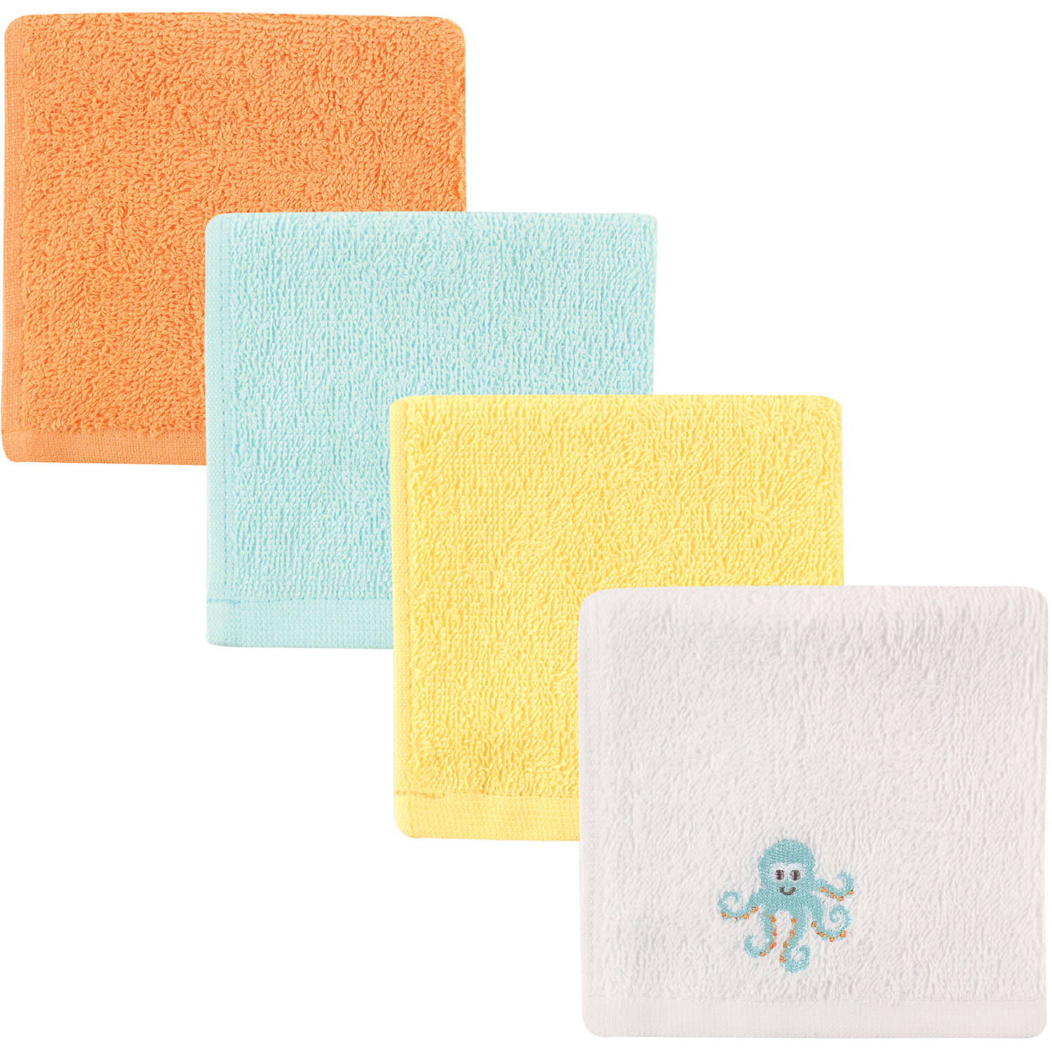 Luvable Friends Washcloth Woven Terry, 4pk, Octopus