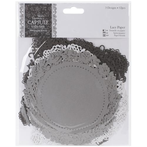 "docrafts Papermania Midnight Blush Die-Cut Lace Paper 5.5"" 12/Pkg"