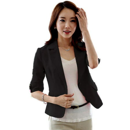 Lavaport Women Fashion 3/4 Sleeve Blazer One Button Short OL Suit