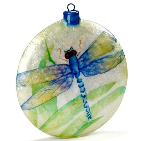 Dragonfly Ornaments (Blue Dragonfly Capiz Disk Christmas Tree Ornament Decoration)