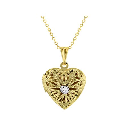 Heart Shaped April Clear Crystal Filigree Locket Photo Pendant Necklace 19