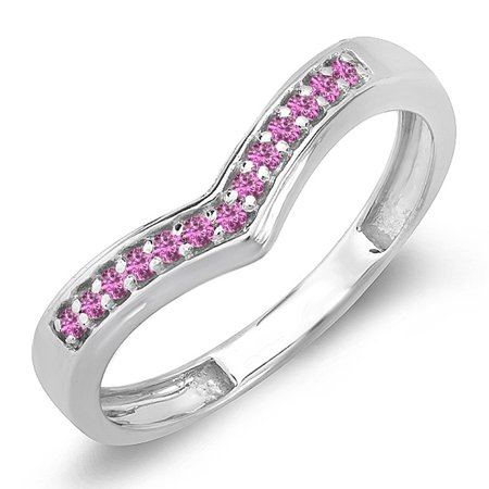 0.15 Carat (ctw) 14K White Gold Round Real Pink Sapphire Wedding Stackable Band Anniversary Guard Chevron Ring
