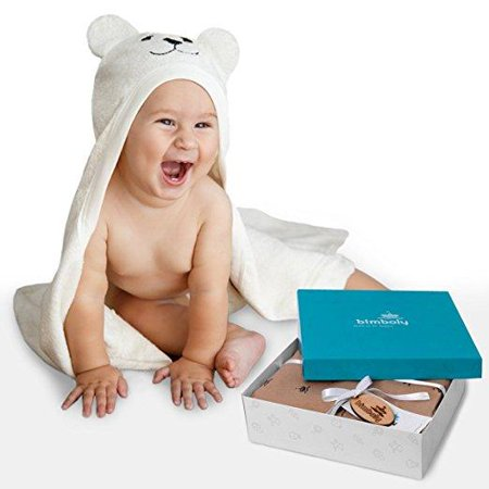 Bimboly Luxury Hooded Baby Towel and Washcloth Set (White) | Extra Soft Mix of Organic Bamboo and Cotton for Infant, Toddler, Newborn and Kids | Great for Boy and Girl at Bath, Pool or Beach ()