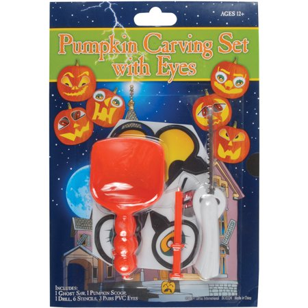 Loftus 12pc Deluxe Halloween Pumpkin Stencil & Carving Set w PVC Eyes