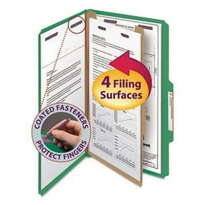 Smead Pressboard Classification Folders, 4 Section, Green, 10 per Box