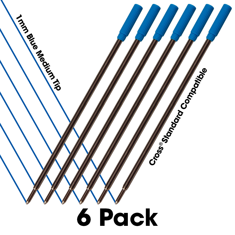 Jaymo 6 Blue Cross Compatible Ballpoint Pen Refills. Smooth Writing German Ink and 1mm Medium Tip. #8511 by