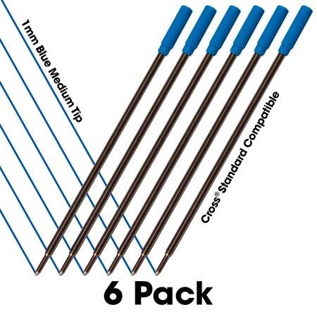 Cross Ink Refills - Jaymo - 6 - Blue Cross Compatible Ballpoint Pen Refills. Smooth Writing German Ink and 1mm Medium Tip. #8511