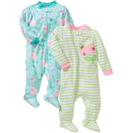 2197c1e25 Garanimals - Garanimals Newborn Baby Girls' Cotton Sleep n' Play 2-Pack -  Walmart.com