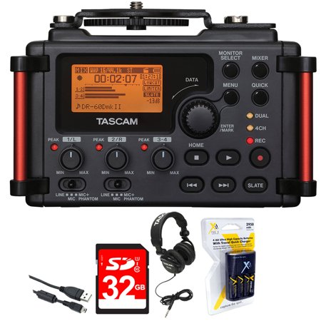 Tascam Portable Recorder for DSLR (DR-60DMKII) + 32GB SDHC Class 10 Memory Card + Closed-Back Headphones + AA Charger (100-240v) w/ 4 2950mah AA Batteries ()