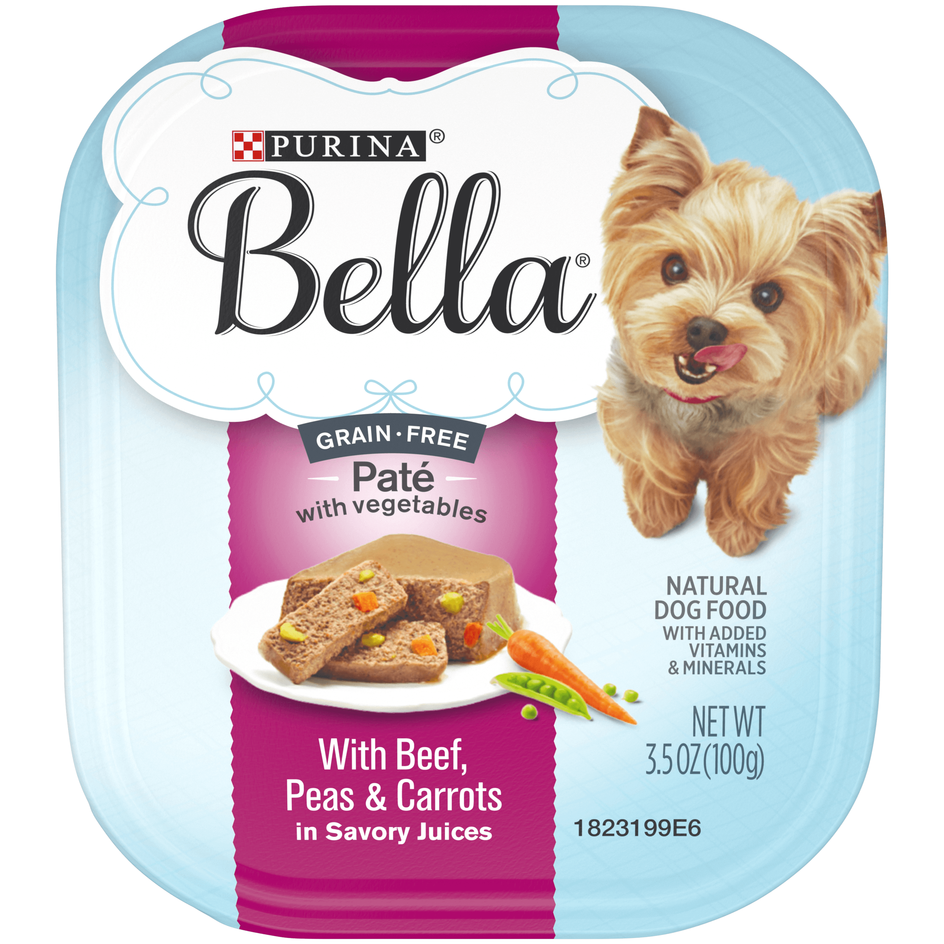 Purina Bella Natural Grain Free Pate With Beef Plus Added Vitamins & Minerals Adult Wet Dog Food - (12) 3.5 oz. Trays