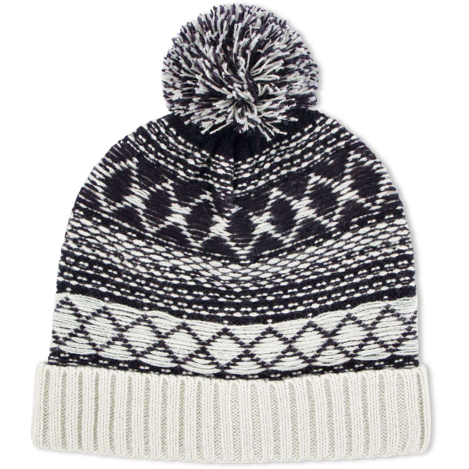 Image of ABG Accessories Big Boys Acrylic Knit Winter Cuffed Beanie Hat With Yarn Pom