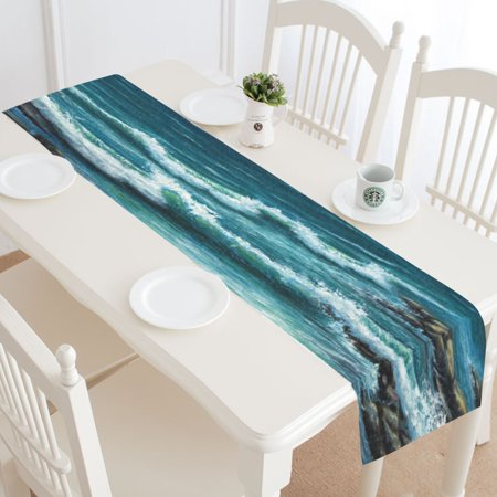 MYPOP Ocean Wave Table Runner Placemat 16x72 inches, Summer Sea Water Table Linen Cloth for Office Kitchen Dining Wedding Party Home Decor](Center Table Decor)
