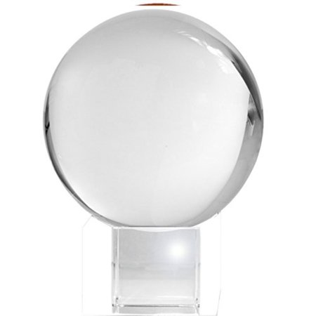 3 Crystal Globe (Amlong Crystal Meditation Ball Globe with Free Crystal Stand, 80mm, Clear )