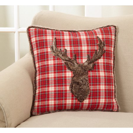 holiday christmas plaid faux fur reindeer down filled throw pillow 18 square - Christmas Plaid