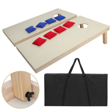 Zeny Portable Solid Wood Bean Bag Toss Set Regulation Size 4ft X 2ft Boards 8 Bags Playset Backyard Lawn Corn Hole Outdoor
