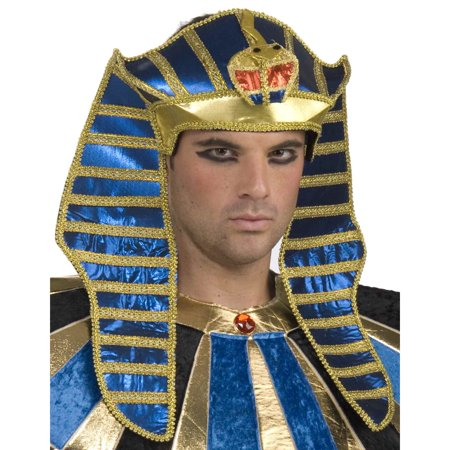 Deluxe Adult Blue and Gold Egyptian Costume Pharaoh Crown Headpiece - Pharoah Hat