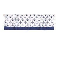 The Peanut Shell Window Valance - Navy Blue Anchor Nautical Print - 100% Cotton Sateen, 53 Inches Wide, 14 Inch Drop