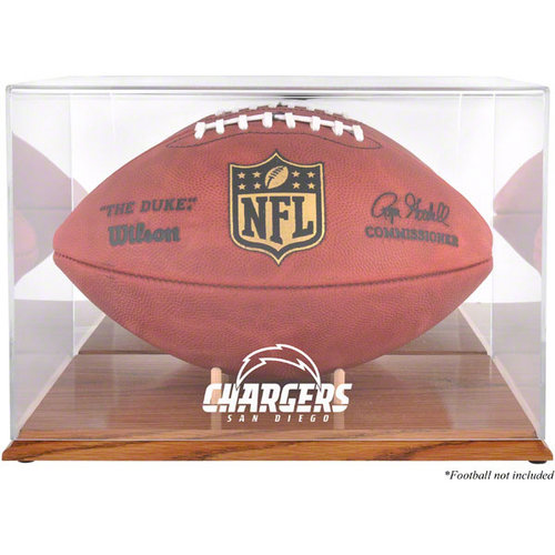 NFL - San Diego Chargers Team Logo Football Display Case | Details: Oak Base, Mirror Back
