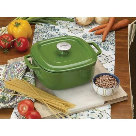 4 qt. Casserole Dish with Lid Enameled Cast Iron, Green (Cast Iron Casserole Dish With Lid)