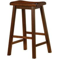 "Bowery Hill 29"" Wooden Backless Bar Stool in Dark Walnut"