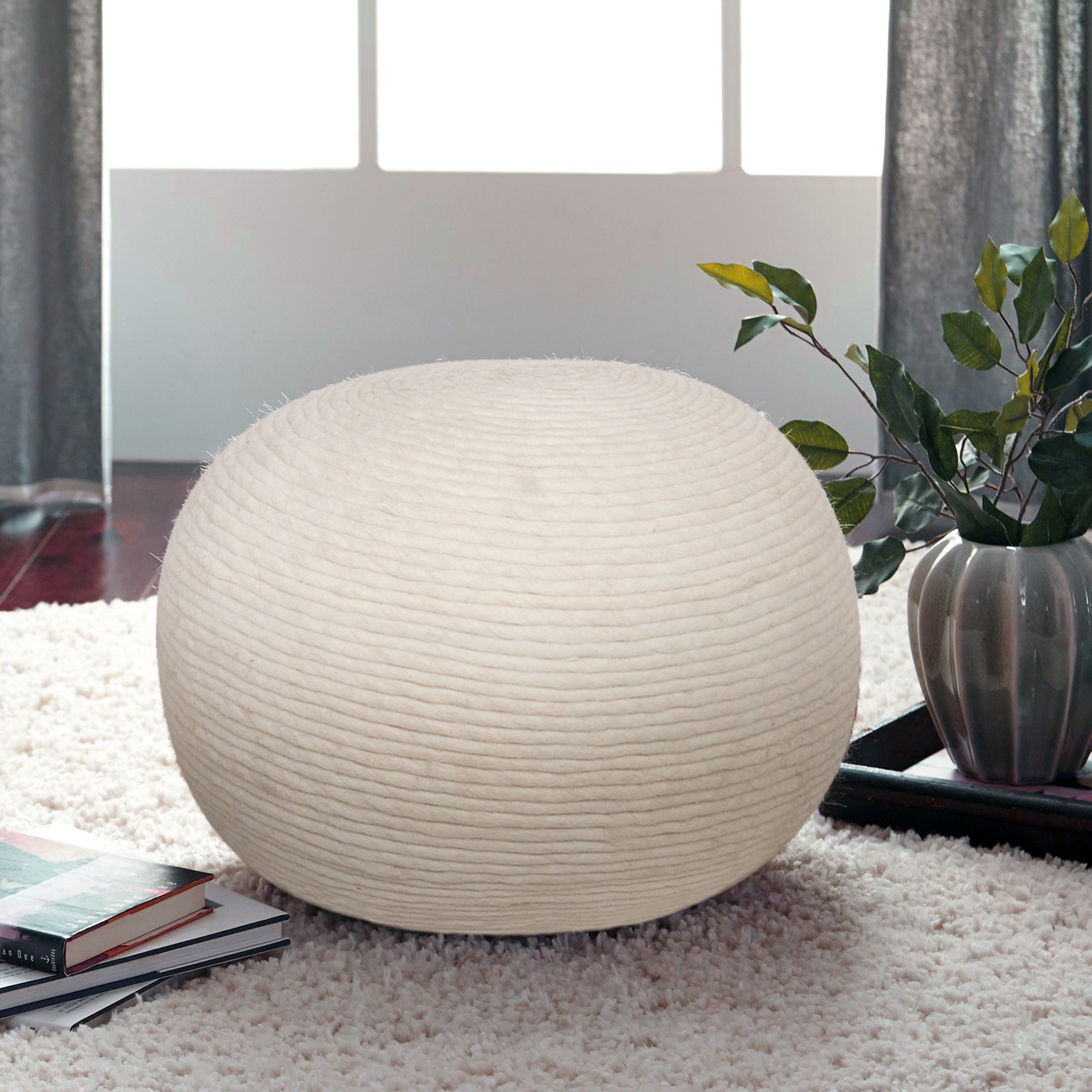Better Homes And Gardens Wool Swirl Pouf