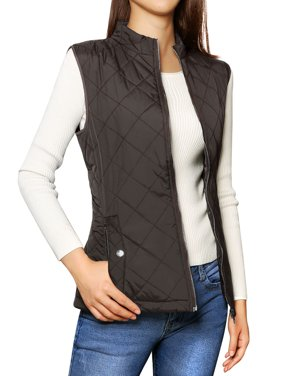Allegra K Woman Zip Up Quilted Padded Vest