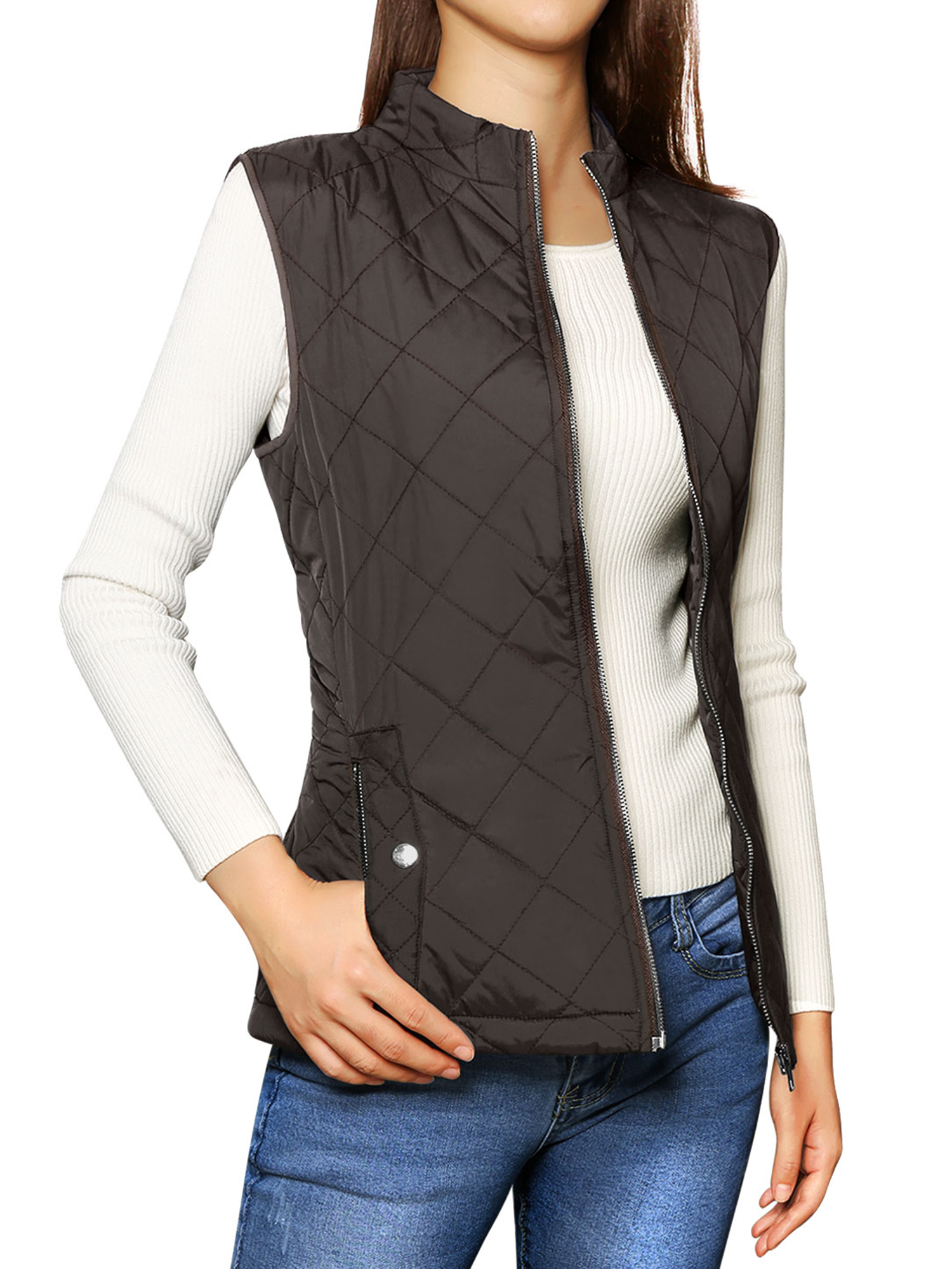 Mother's Day Gift Women's Zip Up Front Stand Collar Lightweight Quilted Padded Vest Coat Dark Blue L (US 14)