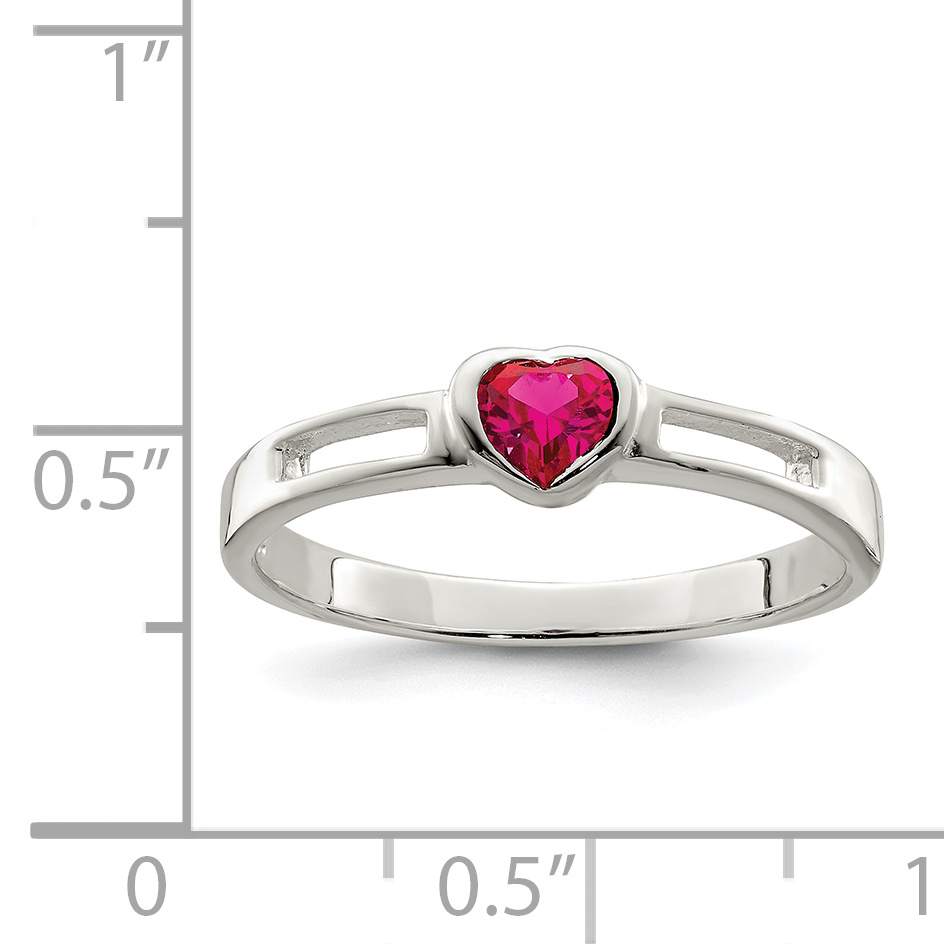 925 Sterling Silver Red Cubic Zirconia Cz Heart Band Ring Size 7.00 S/love Fine Jewelry Gifts For Women For Her - image 1 de 2