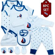 Baby Bright 8 Piece Newborn Essential Baby Layette Set, 0 to 3 Months, Made from 180GSM Bio silk 100% Combed Cotton with Embroidery, Baby Shower Gift. Great Quality Best Layette Wonderful Gift