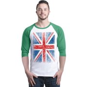 Shop4Ever Men's Union Jack British Flag UK Raglan Baseball Shirt