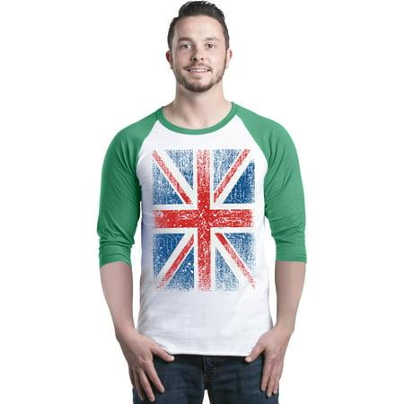Shop4Ever Men's Union Jack British Flag UK Raglan Baseball (Uk Sports Apparel)