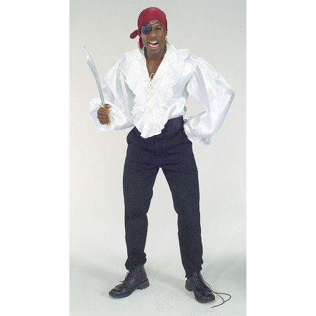 Men's White Satin Pirate Shirt