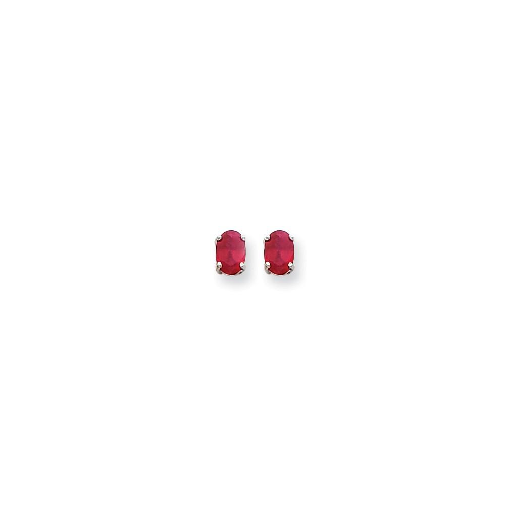 14k White Gold Ruby Post Back Stud Earrings. Gem Wt- 2.22ct (7MM Long x 5MM Wide)