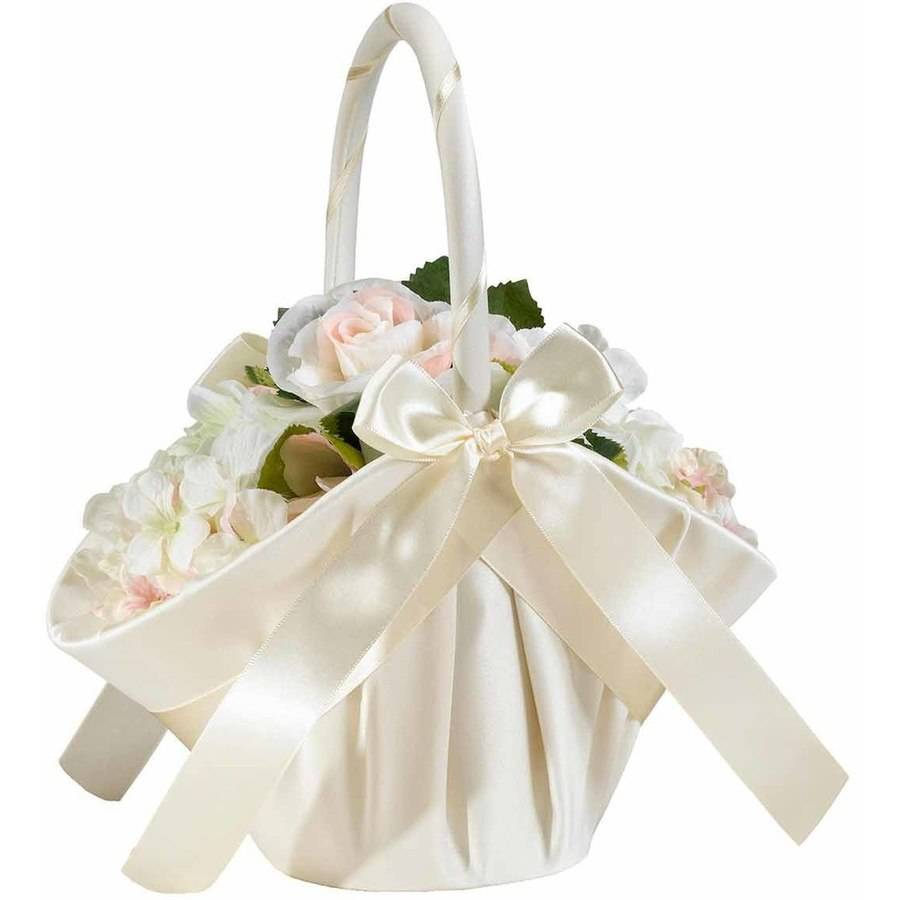 Lillian Rose Large Satin Flower Girl Basket - Ivory