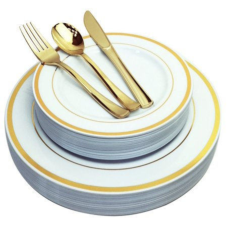 JL Prime 125 Piece Gold Plastic Plates & Cutlery Set, Heavy Duty Disposable Plastic Plates with Gold Rim & Silverware for Party & Wedding, Dinner & Salad Plates Forks Knives Spoons 25 Each - Cheap Wedding Plates And Silverware