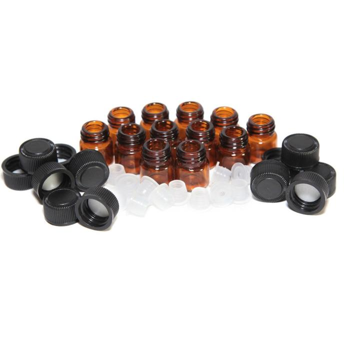 Tuscom 12pc 1 ml Amber Essential Oil Bottle with Orifice Reducer and cap