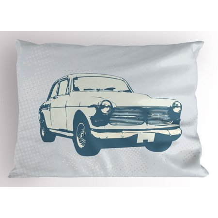 Retro Car Pillow Sham Old Fashion Vintage Custom Collector Automobile Funky Graphic Design, Decorative Standard Size Printed Pillowcase, 26 X 20 Inches, Baby and Slate Blue, by Ambesonne ()