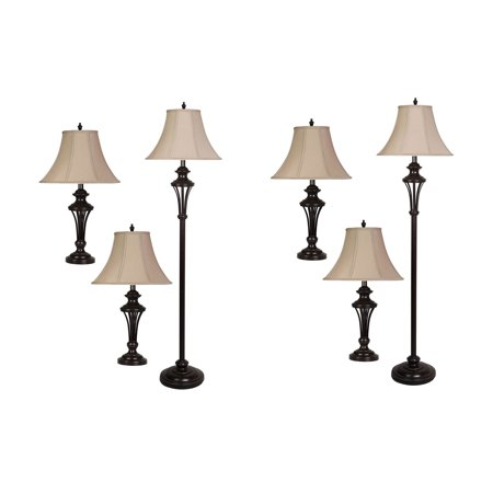 Abode 84 Brockton Black Metal Floor Lamp Amp Table Lamp W Linen Shades 2 Pack Walmart Com