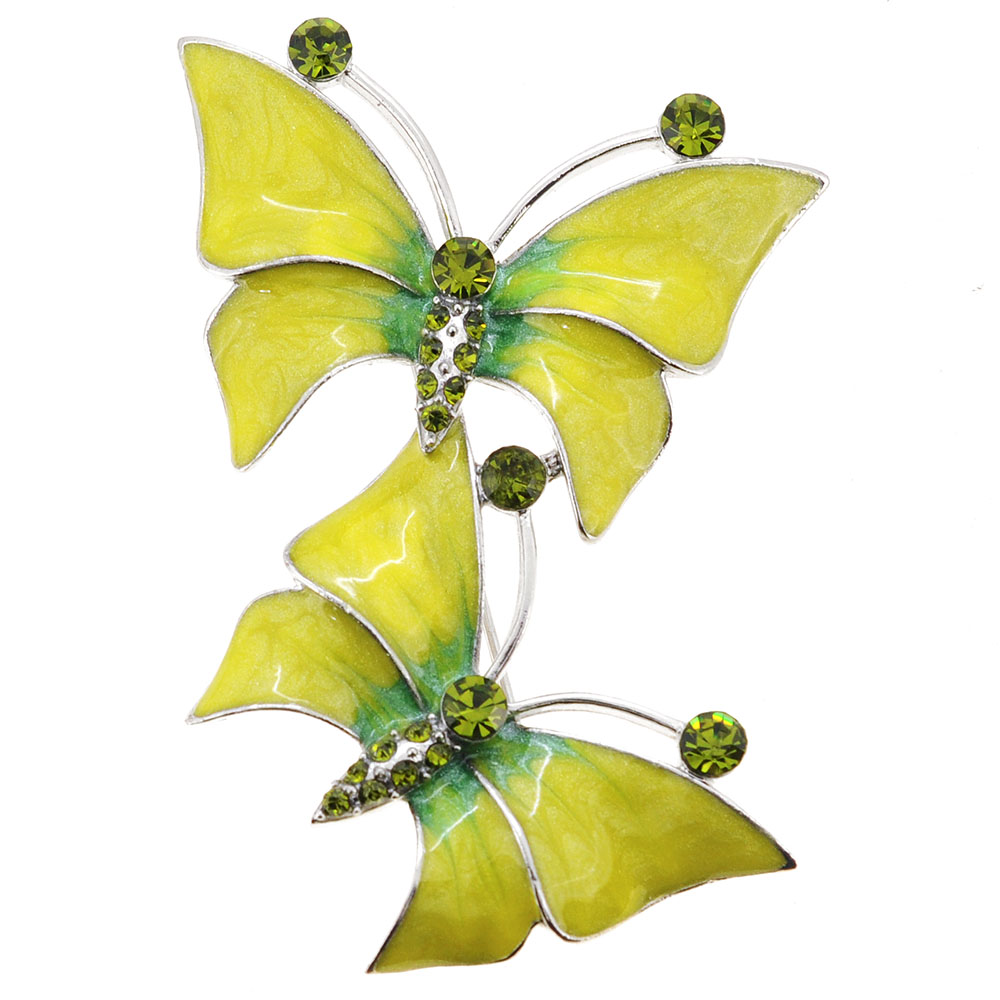 Yellow Butterfly Crystal Pin Brooch by