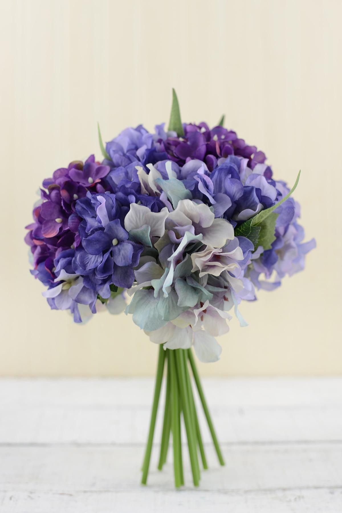 Hydrangea Bouquet Purple 9.5 inches - Walmart.com