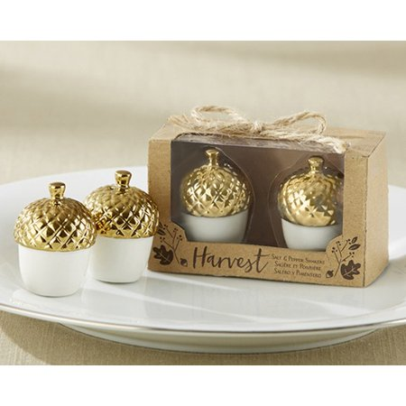 Gold Dipped Ceramic Acorn Salt & Pepper Shakers Set