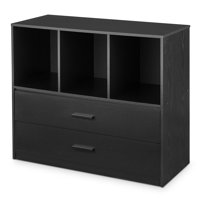 Product Image Mainstays 2 Drawer Dresser With 3 Open Cube Storage True Black Oak Finish