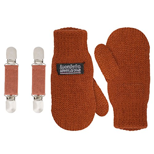SANREMO Unisex Kids Toddler Knitted Fleece Lined Warm Winter Mittens and Mitten Clips Set (1-3 Years, Rust)