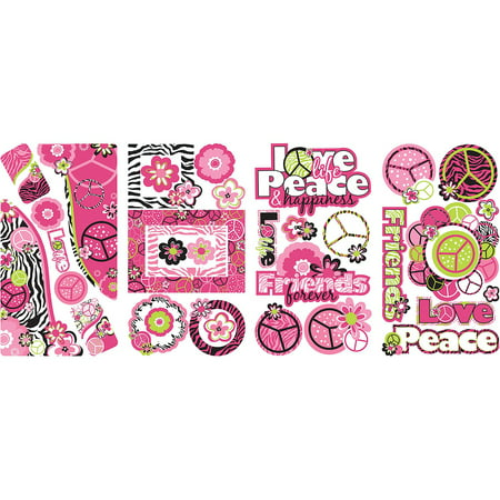 Peace sign frames peel and stick wall decals for Peel and stick wallpaper walmart