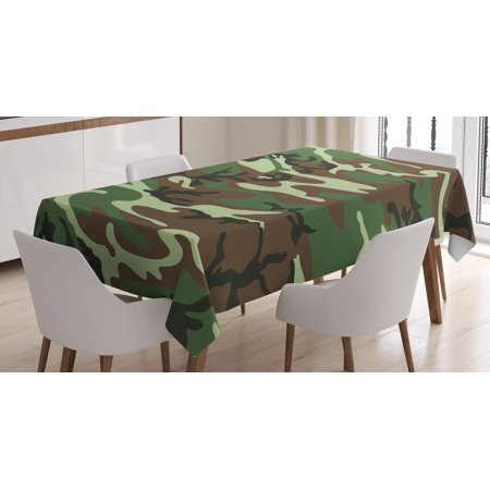 Camo Tablecloth, Classical American Commando Uniform Inspired Pattern Forest Tile, Rectangular Table Cover for Dining Room Kitchen, 60 X 90 Inches, Forest Green Light Green Brown, by Ambesonne](Camouflage Tablecloths)
