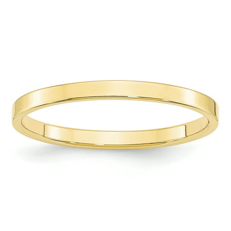 10K Yellow Gold 2mm Light Weight Flat Band Size 4 to 14